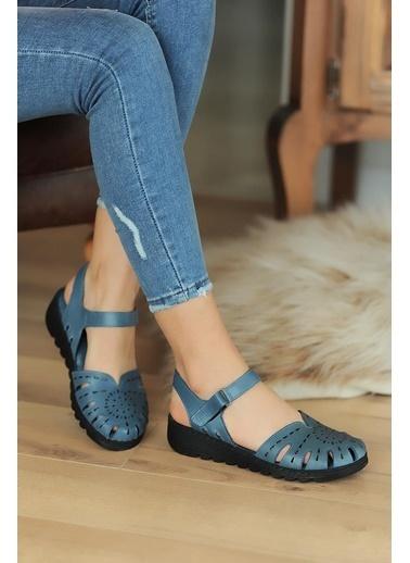 Pembe Potin A0204-20 Kadın Sandalet A0204-20 Mavi